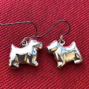 Jewelry - sterling silver Scottie dog dangle earrings